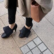 antiqua渾身の新作。お洒落じゃない靴はいらない。『騙すお洒落で効かせる職人業。』フェイクで魅せる、遊ぶ。本革オリジナル2wayブーティーパンプス##