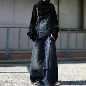 味わい加工のデニムのサロペスカートが来た。・10月15日0時〜再再販。デニムサロペスカートメール便不可