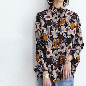 otonaの花柄はシックに華やかに。レトロ花柄シャツ 送料無料・11月30日0時〜再再販。(50)◎メール便可!