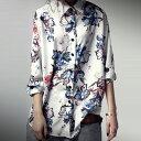 クリーンで華やか、抜け感のある大人の花柄が好印象。フラワーシャツ 送料無料・1月25日0時〜再再販。(50)メール便可