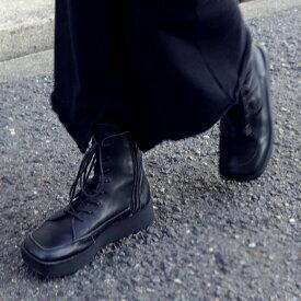 日本製。大人気厚底ブーツがレースアップに。本革スクエア厚底ブーツ ・12月15日0時〜再再販。メール便不可