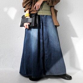 手に入れないとソンでしょ?デザインワイドデニムパンツ 送料無料・再再販。『スカート見えのデニムって新し過ぎる。』メール便不可
