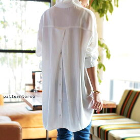 惚れ惚れする、極上のとろみシャツ。バックボタン付きシャツ・2月25日0時〜再再販。(50)メール便可