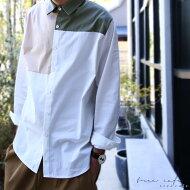 考え抜かれたカラー使い、クリーンな印象に。ブロッキングシャツ・##×メール便不可!