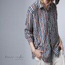 クリアランスバーゲン!期間限定開催!オトナのゆるシャツ。今っぽレトロな配色。デザインストライプシャツ・再販。(8…