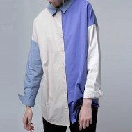 遊び心ある配色にクリーンで知的な印象も。ブロッキングカラーシャツ・(80)◎メール便可!
