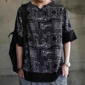 Tシャツ感覚で着れてお洒落の好アクセントに。ペイズリー柄切替T・再販。「G」(80)◎メール便可!