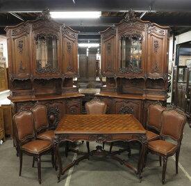 大変希少なお品! フランスアンティーク家具 ダイニングセット 1900年頃 天使の彫刻 本物アンティーク家具 8点セット 62813
