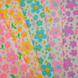 fleur 全5色セット 50cm x 55cm カラフル かわいい レトロ ハンドメイド パッチワーク 日本製 コットン 生地 蛍光 綿100 国産 手芸 エコバッグ 手作り 花柄 フラワー ゆめかわ