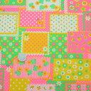 ☆ RetroMix ☆ pop ( グリーン × ピンク ) 緑 ポップ 蛍光 アップル 小花 フラワー かわいい 花柄 パッチワーク プ…