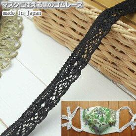 マスク用に使える1.3cm幅の黒ゴムレース10m
