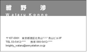 シンプルなデザイン名刺 上部ベタ(モノクロ名刺) 100枚【メール便送料無料】