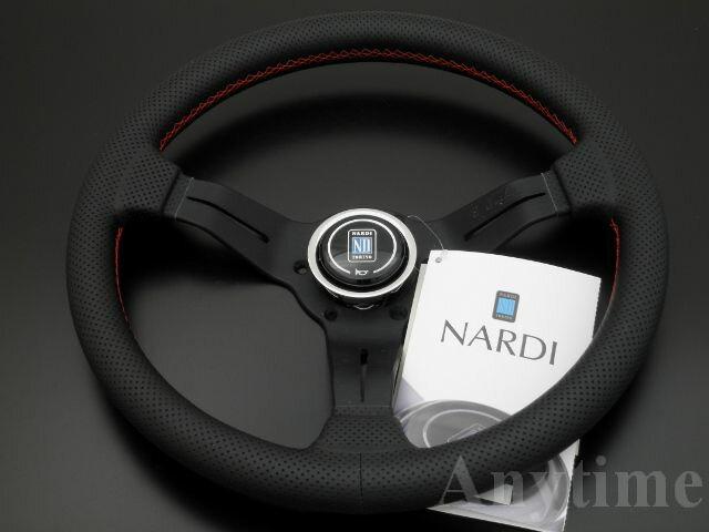 NARDI CLASSIC/ナルディ クラシック SPORTS TYPEラリー パンチングレザー ディープコーンタイプ レッドステッチ 330mm(オフセット52mm)