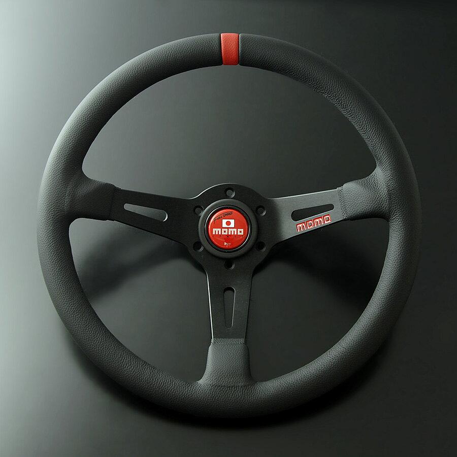 正規輸入品 MOMO FULL SPEED 348D/モモ フルスピード 348D ブラックレザー・ブラックスポーク(レッドトップ)