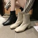 ショートブーツ ブーティー レディース 暖かい ベージュ ブラック 冬ブーツ スクエアトゥ 冬靴 裏起毛 裏ボア…