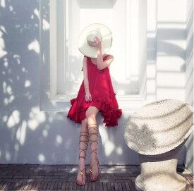 【Anytime】タンクワンピース マーメイド シフォンワンピース フリルワンピース 膝丈ワンピース ミディアム Aライン ノースリーブ 夏 無地 レッド