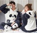 17柄 もこもこカップルパジャマ ペアルック 部屋着 動物 クマ パンダー パーカー ふあもこ モコモコ 秋冬 ルー…