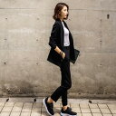 【Anytime】ジャケット+パンツ フォーマルスーツ 韓国ファッション 春秋冬上質レディーススーツ2色 ダブルブレス…