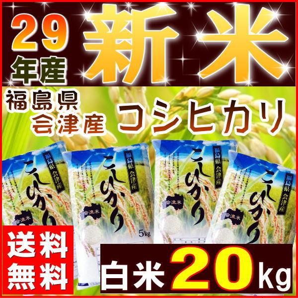 コシヒカリ 20kg(5kg×4袋) 新米 福島県産 お米 米 29年産 会津産 送料無料 特A『29年会津産コシヒカリ(白米5kg×4)』 【RCP】
