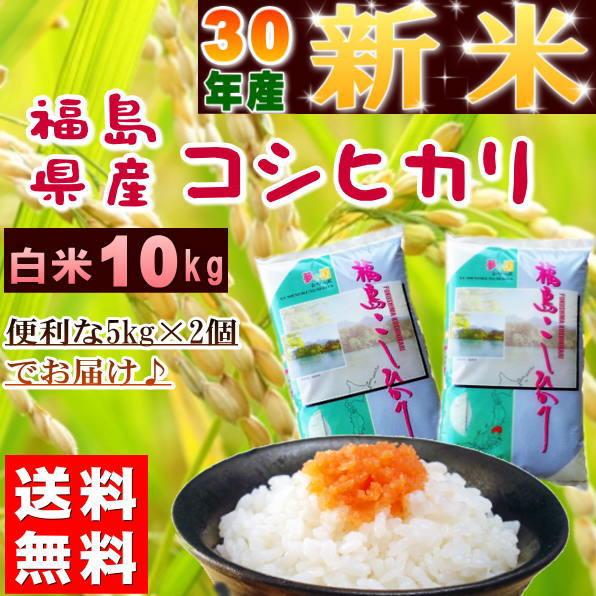 コシヒカリ 10kg(5kg×2袋) 新米 福島県産 お米 30年産 送料無料『30年福島県産コシヒカリ(白米5kg×2)』 【RCP】
