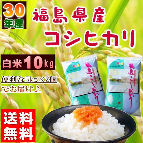 コシヒカリ 10kg(5kg×2袋) 福島県産 お米 30年産 送料無料『30年福島県産コシヒカリ(白米5kg×2)』 【RCP】