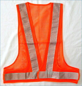 安全ベスト エアースルーベスト メッシュ+ビーズ反射 オレンジメッシュ/白反射  AFV50-OW