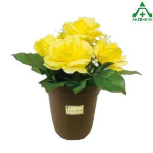 造花鉢 バラ(黄色) 935-42 (メーカー直送/代引き決済不可)イメージアップ 工事現場 フラワープランター フェイクグリーン 店舗装飾 薔薇 ばら