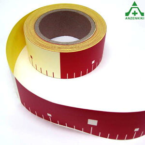テープロッド 裏面のり付 赤白200mm間隔 幅50mm×長さ25m測量用品 現場記録写真用 土木建築用品 標識テープ 貼付ロッド リボンロッド 標識テープ
