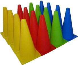 マーカーコーン 32cm 16本セット 全4色×各4本 サッカー フットサル バスケットボール 陸上 トレーニング 練習