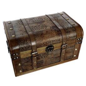 鍵付き 海賊木箱 アンティーク宝箱 大サイズ (横幅約45cm)レトロ カリビアン 財宝 パイレーツ 収納箱