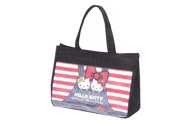 【サンリオ】【ハローキティ】クリアポケットバッグ【デニム】【キティ】【キティちゃん】【キャラクター】【鞄】【かばん】【お弁当入れ】【ランチバッグ】【グッズ】【遠足】【ピクニック】【かわいい】