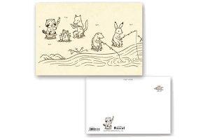 【送料無料】【日本製】【あらいぐまラスカル】ポストカード【鳥獣戯画ラスカル釣り】【ラスカル】【プチラスカル】【ハガキ】【手紙】【文房具】【グッズ】【あらいぐま】【かわいい