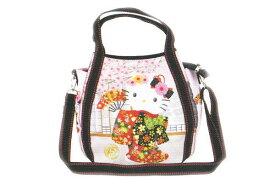 【ハローキティ】2WAYショルダーバッグ【舞い踊る】【和柄】【和風】【Kitty】【キティ】【キティちゃん】【バッグ】【ハンドバッグ】【鞄】【かばん】【サンリオ】【グッズ】【キャラ】【かわいい】