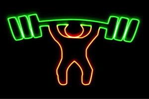 【ネオン】ウエイトリフティング【重量挙げ】【バーベル】【スポーツ】【アイコン】【ネオンライト】【電飾】【LED】【ライト】【サイン】【neon】【看板】【イルミネーション】【インテ