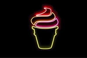 【ネオン】ソフトクリーム【5】【ICE CREAM】【アイスクリーム】【アイス】【イラスト】【ネオンライト】【電飾】【LED】【ライト】【サイン】【neon】【看板】【イルミネーション】【イン