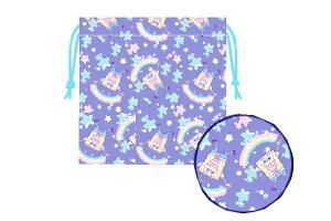 【スポンジボブ】巾着【星と虹】【SpongeBob】【ボブ】 【アニメ】【キャラクター】【巾着袋】【巾着】【ランチ巾着】【お弁当】【袋】【小物入れ】【子供】【キッズ】【学校】【スクール