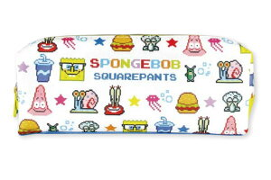 【スポンジボブ】2+1ファスナーペンポーチ【ビットフェイス】【SpongeBob】【ボブ】【テレビ】【アニメ】【文房具】【学校】【勉強】【生活雑貨】【ペンケース】【ペンポーチ】【ケース】