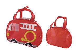 【オリジナル】ビニールボストンバッグ【消防車】【カー】【車】【くるま】【ノンキャラクター】【鞄】【かばん】【バッグ】【カバン】【ビニール】【ビーチバッグ】【ビニールバッグ