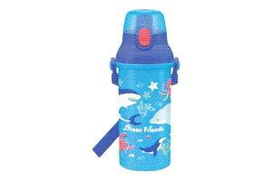 【日本製】【オリジナル】直飲みプラワンタッチボトル【Ocean Friends】【海】【動物】【魚】【アニマル】【ノンキャラクター】【ノンキャラ】【子供】【キッズ】【キャンプ】【ピクニック