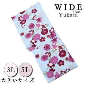 【30%OFF/スーパーSALE】 仕立て浴衣 レディース -57- 綿100% 3L 5L 水色 花柄