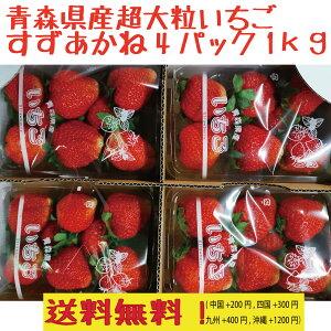 クール便込み 青森県産 夏いちご すずあかねor森のひかり 大粒 4パック 1kg