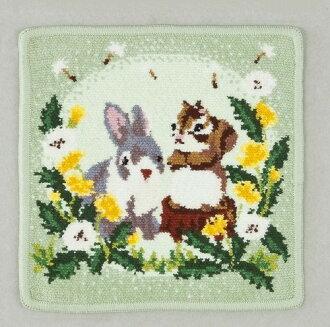 """Ship to"" Hare & squirrel little off lens-green / chenille weave 100% cotton handkerchief 13002P01Nov14"