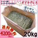 牧草 スーパープレミアムチモシー1番刈り ダブルプレス 圧縮 20kg 送料無料