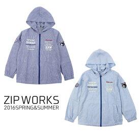 【春夏】ボーイズ/130cm〜160cm/ZIPWORKS長袖/パーカー/ストライプ/フード付きジャケット/ジップワークス/marathon