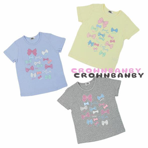 【春夏】ガールズ/120cm~160cm/CROWNBANBYリボン/プリント/半袖Tシャツ/クラウンバンビ/marathon