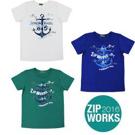 【春夏】ボーイズ/130cm~160cm/ZIPWORKS半袖Tシャツ/イカリ/マリン/プリント/ジップワークス/marathon