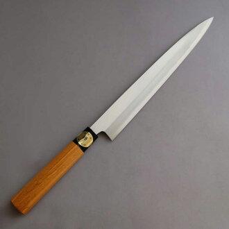 파랑 종이 カスミ 연 단일 예리하게 고리 버들 잎 사시 미 칼 270mm 느티나무 디자인