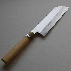 青紙鋼使用鎌型片刃薄刃包丁カスミ仕上210mm水牛柄【送料無料】