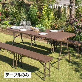 テーブル 机 屋外 家具 ファニチャー プラ 折りたたみ ガーデン タカショー / イージーキャリー ダイニングテーブル ラタン調 ブラウン /B