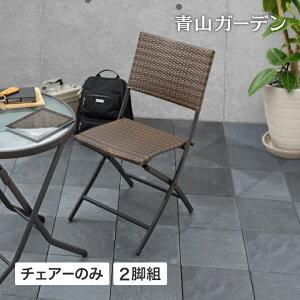 イス チェア 椅子 屋外 家具 ファニチャー スチール ラタン 折りたたみ ガーデン タカショー / イーズ ラタンチェアー2脚セット /B